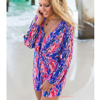Under The Boardwalk Multi Color Long Sleeve Print Romper
