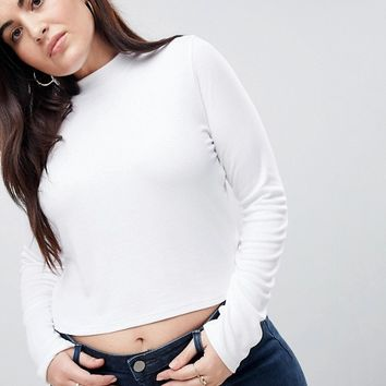 ASOS CURVE Crop Top With Turtleneck at asos.com