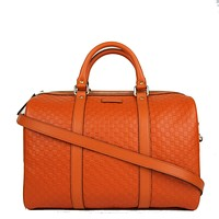 Gucci Microguccissima Orange Leather Dome Boston Bag 449646