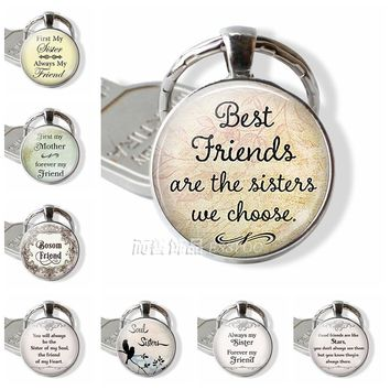 Fashion Accessories Best Friends Are The Sisters We Choose, Friendship Pendant Quote Jewelry Glass Cabochon Keychain Key Chain