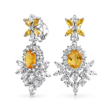 Canary Yellow CZ Prom Statement Dangle Clip On Earrings Silver Plated