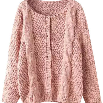 Pink Solid Knit Ribbed Fall Cardigan