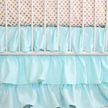 Aqua and Gold Dot Ruffle | Crib Baby Bedding Set