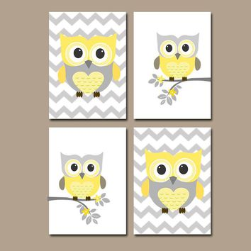 OWL Nursery Art, Yellow Gray Owl Nursery, Girl Owl Nursery Decor, Owl Chevron Pictures, CANVAS or Prints, Set Of 4, Owl Theme Decor Pictures