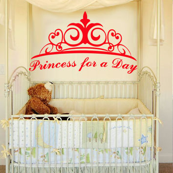 Wall decal decor decals princess for a day crown nursery inscription letter cartoon cheerful girl story gift (m612)