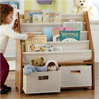 Kids' Sling Bookshelf with Storage Bins Non-Personalized - Natural