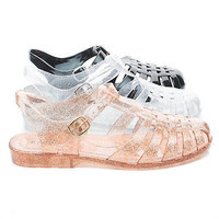 Amira03 Fisherman Jelly Caged Glitter Ankle Strap Flat Sandal