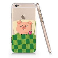 Cute Animals Cute Pig Pink Sleeping Clear Transparent Plastic Phone Case Phone Cover for Iphone 6 6s_ SUPERTRAMPshop (iphone 6)