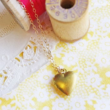 Tiny Brass Heart Locket Dainty Gold Filled Necklace by dondalees