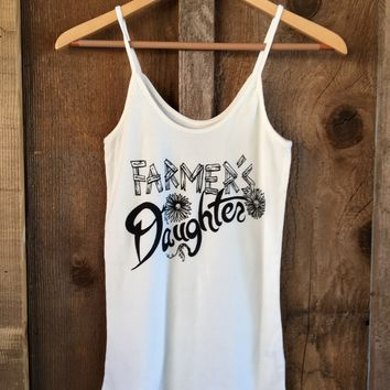 Farmer's Daughter Sissy Tank White/Blk | Bandit Brand General Store