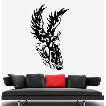 Vinyl Wall Decal Bike Biker With Wings Angel Motorcycle Stickers Unique Gift (1844ig)