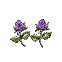 Flowers Patches - Small Purple Flowers Embroidered Iron on Patches Set of 2