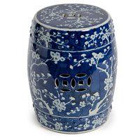Blossom Garden Stool, Navy/WhiteLEGEND OF ASIA