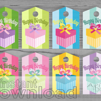 Happy Birthday Colorful Gift Tags Printable Gift Wrap Label Spring Candy Colors Instant Download