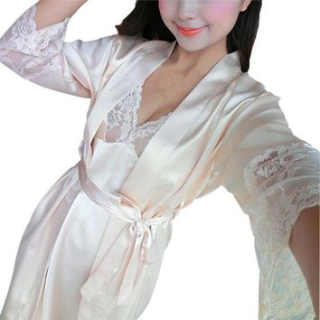 LMFCI7 2 Pcs Sexy Women Lace Robe Set Rayon Women Pajamas V-Neck Nightgown Women Cardigans