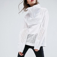 ASOS Funnel Neck Jacket in Mesh and Lace at asos.com