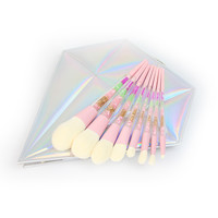 8pcs Colorful Diamond Handle Glitter Rainbow Makeup Brushes W/Diamond Case!
