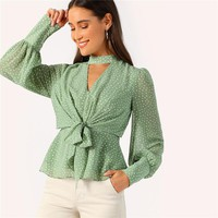 Green Choker Neck V-cut Knot Front Bishop Sleeve Peplum Top Blouse Women Elegant Vintage Office Lady Blouses
