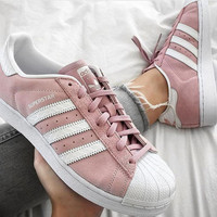 """Adidas"" Fashion Shell-toe Flats Sneakers Sport Shoes Mint Green Pink"