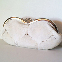 Ivory Tile Mosaic, an eyeglass or sunglass case, smartphone case, small clutch, or a bridesmaid clutch