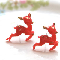 Vintage Inspired Red and Gold Reindeer Tiny Deer Post Earrings - Christmas, Holiday, Bridesmaid, Wedding