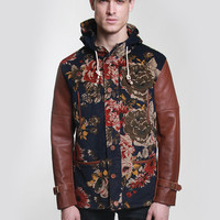 Royal Versailes Floral Fishtail Parka Jacket in Navy/Brown