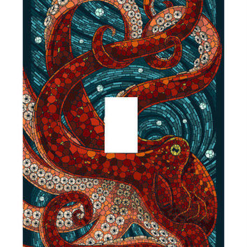 Light Switch Cover - Light Switch Plate Mosaic Octopus Squid