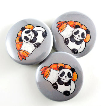 Panda and Sushi, Pinback Button, Badge, Pin, Panda Bear, Cute Animal Art