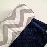Baby Blanket, Grey and White Cheveron, Navy Blue Minky
