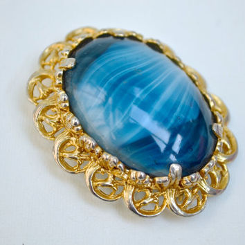 Blue Brooch, Faux Agate Brooch, Glass Brooch, Gold Brooch, Gold Pin, Oval Brooch, Agate Brooch, Large Brooch, Vintage Brooch, Vintage Pin