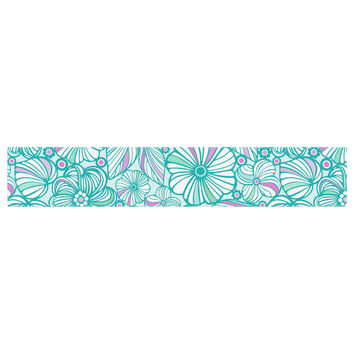 """Julia Grifol """"My Turquoise Flowers"""" Teal Pink Table Runner"""