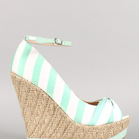 Mint Striped Wedge Sandals