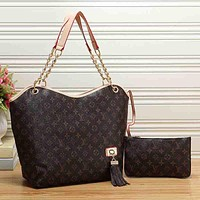 Louis Vuitton Women Fashion Leather Satchel Shoulder Bag Handbag Two Piece Set