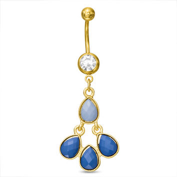 014 Gauge Blue Acrylic Teardrops Dangle Belly Button Ring in Stainless Steel with Yellow IP - - View All - PAGODA.COM