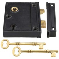 Cast Iron Vertical Rim Lock With Black Powder-Coated Finish