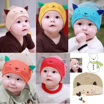 New Soft Cotton Baby Cat Stripe Beanie Boys Girls Hat Infant Newborn Kids Cap = 1930087044