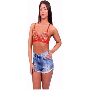 Women's Red and Gold Star Studded Embellished Top Bustier Bralette