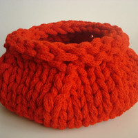 Red Hand Knitted Basket  Bowl Vase Container Natural Wool Rope Red