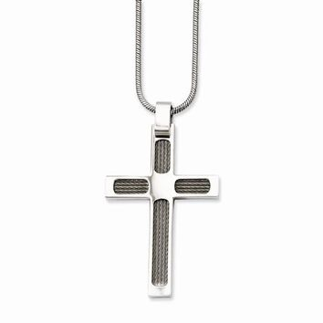 Stainless Steel Wire & Polished Cross Pendant On Necklace