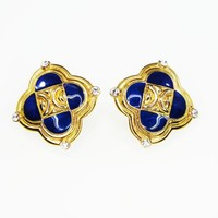 Blue Enamel and Gold Tone Modernist Earrings w/Clear Rhinestones, Clip On in a Scalloped Square Setting, Signed Trifari, Retro Vintage 1990s