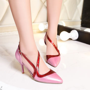 Pointed Toe Patent Leather Two Piece Spike Heels High Heel Sandals 9380