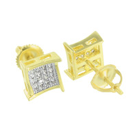 14k Gold Finish Earrings Mens Ladies Lab Diamond Screw Back