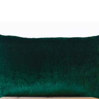 Emerald green lush velvet and oatmeal linen - Velvet pillow -12x20 Decorative couch pillows -Gift -Green Bedding -Sofa pillow- Lumbar Pillow