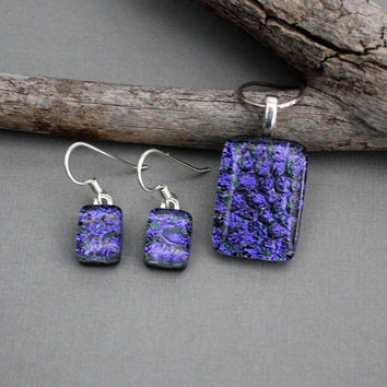 Dichroic Glass Jewelry Set - Purple Jewelry Set - Fused Glass Jewelry - Mothers Day Jewelry Gift For Mom