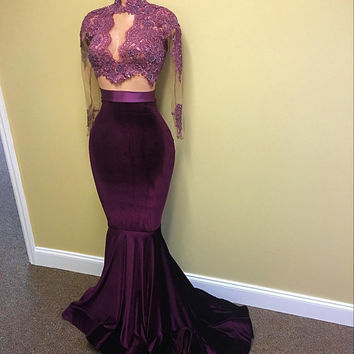 High Neck Long Sleeve Mermaid Prom Dresses Evening Dresses