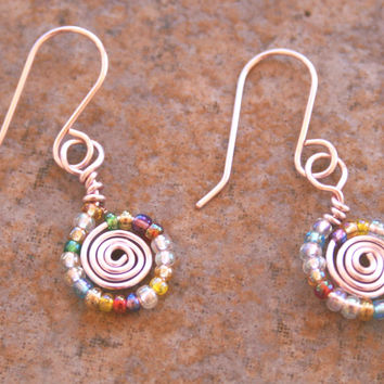 Handmade Pink Wire Wrapped Earrings , Multicolored Glass Bead Wire Earrings , Spring Color Jewelry