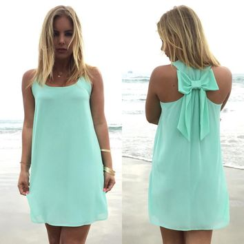 Bow Back Mint Dress