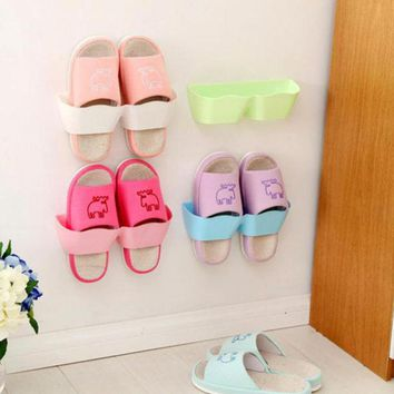 Wall-Mounted Sticky Hanging Shoe Holder Hook Shelf Rack Organiser Accessories Storage Holder with 1pc Double Sides Tape 45