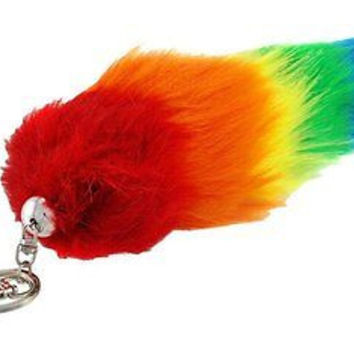 "RAINBOW STRIPES GAY PRIDE FAUX FOX TAIL FOXTAIL KEYCHAIN 8""-10"" CLIP-RAINBOW FOX"