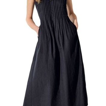 Casual Black V Neck Pleated Sleeveless Dress